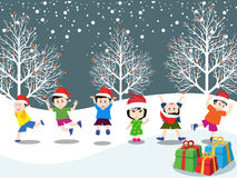 Merry christmas with happy kids vector Stock Images