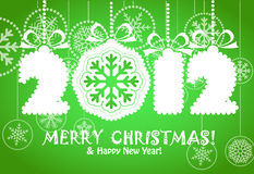 Merry Christmas and Happy New 2012 Year. Greeting card with white digits 2012. Merry Christmas and Hapy New Year vector illustration