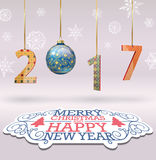 Merry Christmas and Happy New 2017 background. Illustration Royalty Free Stock Photo