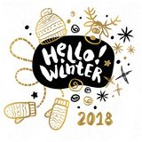 Merry Christmas Happy New 2018. Hello Winter You Merry Christmas Happy New tags set sketch style. Christmas lettering greeting cards. Golden festive doodles Royalty Free Stock Images