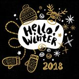 Merry Christmas Happy New 2018. Hello Winter You Merry Christmas Happy New tags set sketch style. Christmas lettering greeting cards. Golden festive doodles Stock Photography