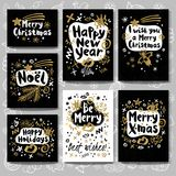 Merry Christmas Happy New Year sketch style. Merry Christmas Happy New set sketch style. Christmas lettering greeting cards. Golden festive doodles trendy Stock Photos