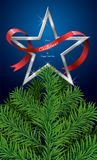 Merry christmas and happy new yea, christmas tree white Ribbon Silver star