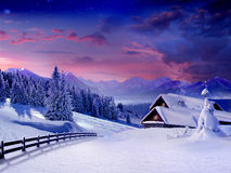 Winter scene. Winter landscape for your Celebrations Card Stock Photo