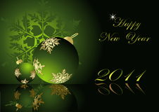 Merry Christmas and Happy New Year. Green and gold vector illustration