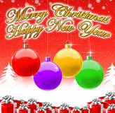 Merry Christmas & Happy New Year 2009 Background. Colorful Merry Christmas & Happy New Year Background Royalty Free Stock Photo