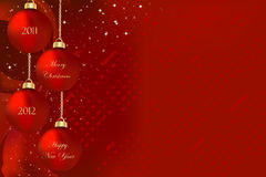 Merry Christmas and Happy New Year 2011 2012. Vector illustration on a red background with Christmas ornaments and written Merry Christmas and Happy New Year Stock Photo