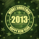 Merry Christmas and Happy New Year 2013 over green. Abstract green background with text Merry Christmas, Happy New Year 2013 in circles, illustrated striped Stock Photography
