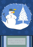 Merry Christmas and a Happy New Year. Snowman with little birds Royalty Free Stock Photos