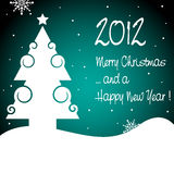 Merry Christmas and a Happy New Year. Background with Christmas tree, snowflakes and the text 2012 Merry Christmas and a Happy New Year written with white royalty free illustration