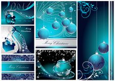 Merry Christmas and Happy New Year. Collection silver and blue vector illustration