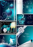 Merry Christmas and Happy New Year. Collection silver and blue royalty free illustration