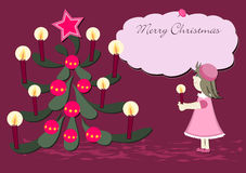 Merry Christmas and a Happy New Year. Little girl with candle Royalty Free Stock Photos