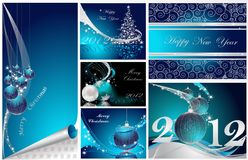 Merry Christmas and Happy New Year. Collection silver and blue stock illustration