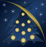 Merry Christmas and a Happy New Year. Christmas tree, stars and snowflakes Stock Photo