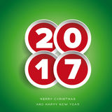 Merry Christmas and Happy New year 2017 Stock Images
