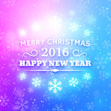 Merry Christmas and Happy New Year 2016. Abstract Vector Background with Typography for Christmas. Party poster or greeting card for winter holidays. Glowing stock illustration