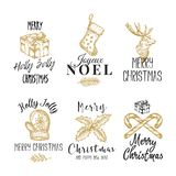 Merry Christmas and Happy New Year Abstract Vector Signs, Labels or Logo Templates Set. Hand Drawn Deer, Candy Canes. Holly, Gift Box and Sock Sketches with vector illustration