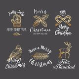 Merry Christmas and Happy New Year Abstract Vector Signs, Labels or Logo Templates Set. Hand Drawn Deer, Glove, Candy. Cane, Bird, Gift Box and Holly Sketches stock illustration