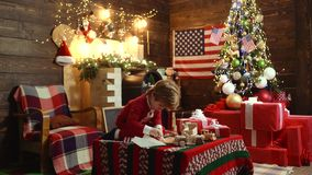 Merry Christmas and Happy new year in America, USA. Christmas Celebration holiday. American kid enjoy the holiday. Merry Christmas and Happy new year in America stock video