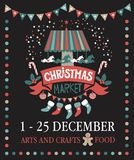 Christmas market poster. Merry Christmas and Happy New Year on amusement park, winter market, festival, fair. Hand-lettering Christmas market on the red ribbon Stock Photos