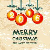 2016 Merry Christmas and Happy New Year. Art Stock Image