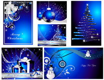 Merry Christmas and Happy New year background. Blue Vector Merry Christmas background Stock Photo