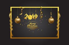 Merry Christmas and happy new year 2019 background.  vector illustration