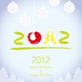 Merry Christmas and Happy New Year background. 2011 Merry Christmas and 2012 Happy New Year background royalty free illustration