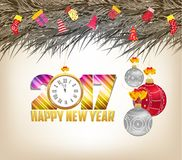 Merry christmas and happy new year 2017 background.  Stock Images