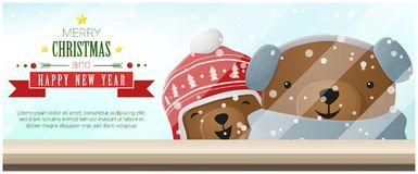 Merry Christmas and Happy New Year background with bears standing behind window. Vector , illustration Stock Images