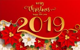 Merry Christmas And Happy New Year 2019. Merry Christmas And Happy New Year 2019 Background beautiful flower paper cut art and craft style on color Background royalty free illustration