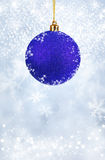 Merry Christmas and Happy New Year background with blue balls Stock Photos