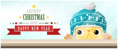 Merry Christmas and Happy New Year background with cat looking at empty table top Stock Images