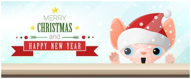 Merry Christmas and Happy New Year background with cat looking at empty table top. Vector , illustration Royalty Free Stock Photos