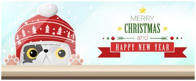 Merry Christmas and Happy New Year background with cat looking at empty table top Stock Image