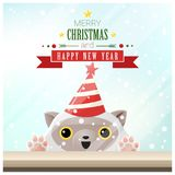 Merry Christmas and Happy New Year background with cat standing behind window Stock Photos