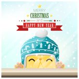Merry Christmas and Happy New Year background with cat standing behind window Stock Photography