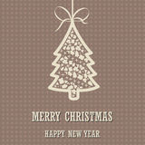 Merry Christmas and Happy New Year background with christmas tree Stock Photography