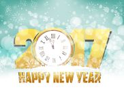 Merry christmas and happy new year 2017 background with clock.  Royalty Free Stock Photos