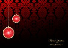 Merry Christmas and a Happy New Year background decorated with golden Christmas red bulbs and luxury floral damask background. Merry Christmas and a Happy New royalty free illustration
