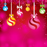 Merry Christmas and Happy New Year Background. Decorations Colorful ball, ribbon and Snow. Stock Photo