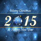 Merry christmas and happy new year background. Design on the blue background, snow and christmas ball Stock Images