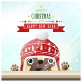 Merry Christmas and Happy New Year background with dog standing behind window Stock Photos