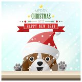 Merry Christmas and Happy New Year background with dog standing behind window. Vector , illustration Royalty Free Stock Image
