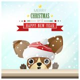 Merry Christmas and Happy New Year background with dog standing behind window. Vector , illustration Royalty Free Stock Images