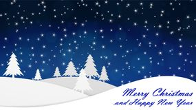 Merry Christmas and Happy New Year. Background. Evening, the snow falls. stock illustration
