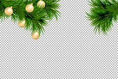 Merry Christmas and Happy New Year background with fir branches and christmas balls isolated on transparent background. Modern des. Ign. Universal vector Stock Photography