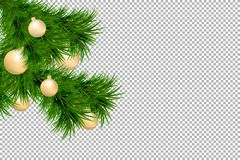 Merry Christmas and Happy New Year background with fir branches and christmas balls isolated on transparent background. Modern des. Ign. Universal vector royalty free illustration