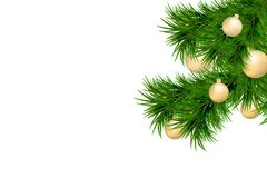 Merry Christmas and Happy New Year background with fir branches and christmas balls isolated on white background. Modern design. U. Niversal vector background Stock Images